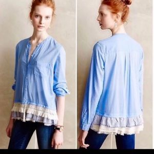 Holding Horses (Anthro) Blue Button Down Size 10